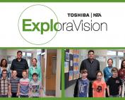 Toshiba | NSTA ExploraVison, below left: 3 adults stand behind 4 2nd grade boys, right photo 3 adults stand behind 2 boys, 2 girls
