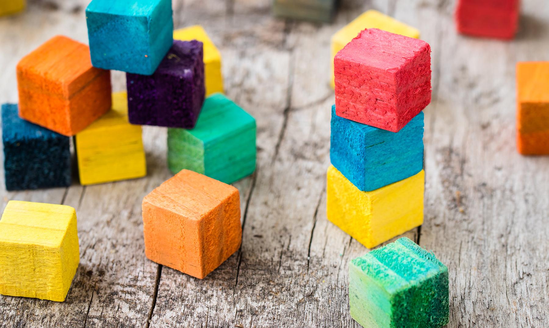 Colorful Wood blocks randomly stacked